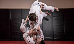 Brazilian jiu-jitsu in full flight. Stock photo.