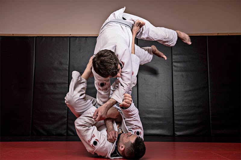 Brazilian jiu-jitsu in full flight. Stock photo.