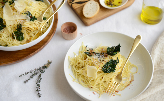 Olive Oil & Kale Spaghettini. Photo: Teresa Floyd/Tastebook.com