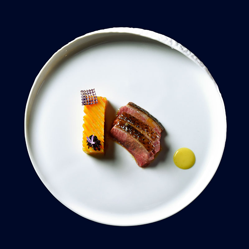 Mitch Lienhard's signature dish of roasted duck with spiced orange and yam