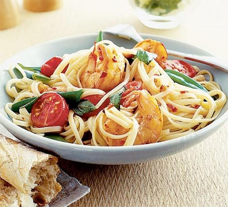 Chilli prawn linguine. Photo: BBC Good Food