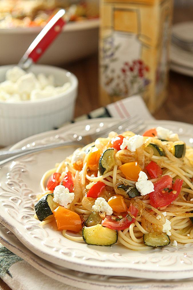 Roasted vegetable pasta & goat cheese. Photo: Barb Kiebel/creative-culinary.com