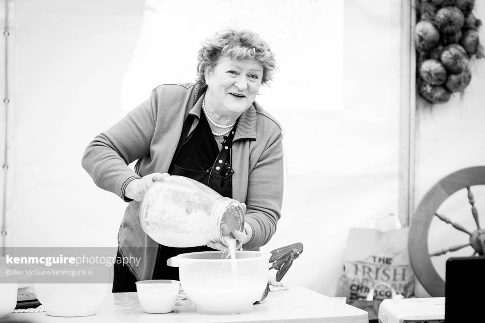 Breda McDonald, one of the formidable mentors on the IFTA Award-winning series of RTÉ's ICA Bootcamp. Breda (who spent many years as head butter maker at Glenmore creamery) pictured mid flow showcasing the forgotten craft of butter making.  Photo: Ken McGuire/kenmcguire.ie