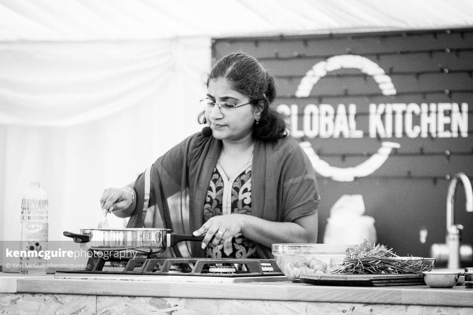 Chethana Ramana preparing a Dum Aloo using plant-based spices in The Global Kitchen. Photo: Ken McGuire/kenmcguire.ie
