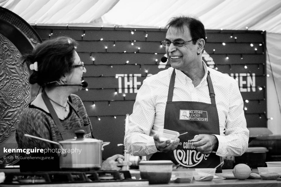 Lydia Jaber and, right, Guy Jones during their Lebanese cooking demonstation in The Global Kitchen. Photo: Ken McGuire/kenmcguire.ie