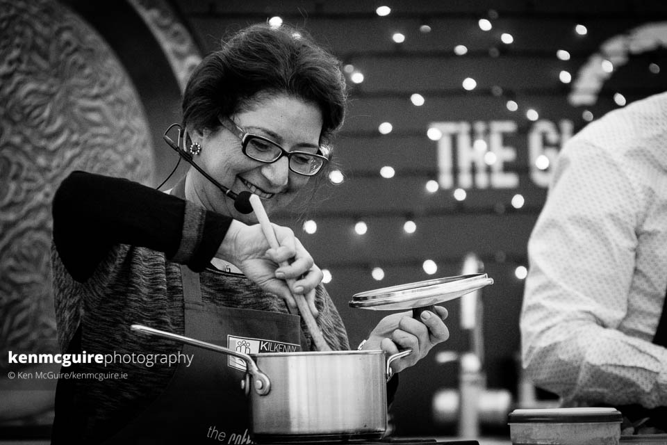 Lydia Jaber during her Lebanese cooking demonstation with Guy Jones in The Global Kitchen. Photo: Ken McGuire/kenmcguire.ie