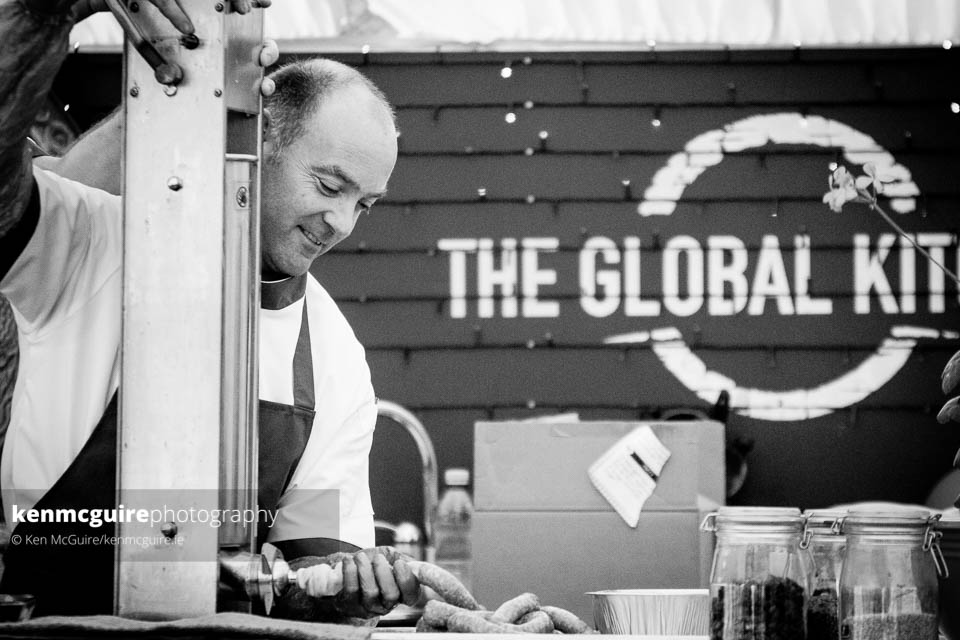 Dermot Grogan of Grogan & Brown Artisan Butchers at the relaunch and demo of Lavistown Sausages. Photo: Ken McGuire/kenmcguire.ie