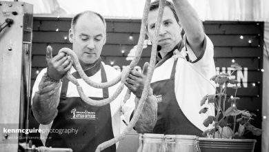 Dermot Grogan (L) and Jonathan Brown demoing Lavistown Sausages