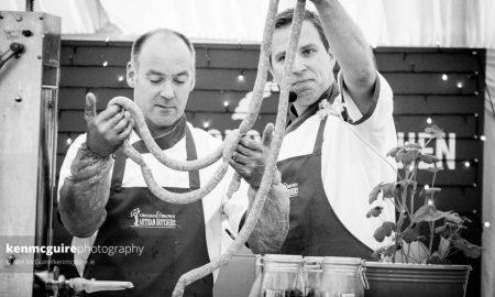 Dermot Grogan (L) and Jonathan Brown demoing Lavistown Sausages