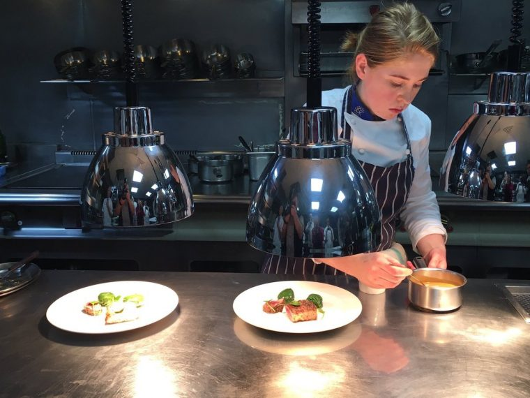 Maeve Walsh plating her lamb dish during the culinary skills test as part of this year's final. Photo: @SpinelliManuela/Twitter
