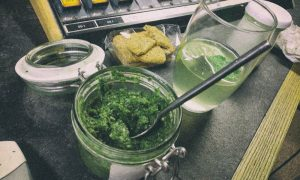 L-R: Wild garlic and nettle pesto, nettle beer, labneh cheese