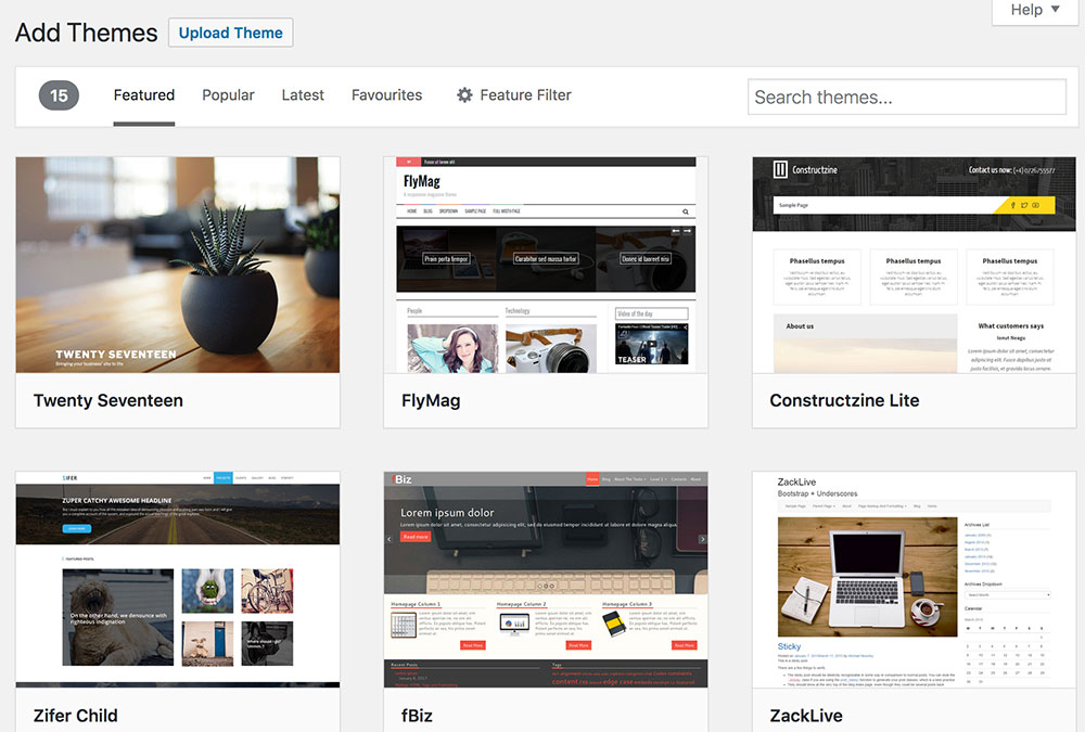 Add a WordPress theme