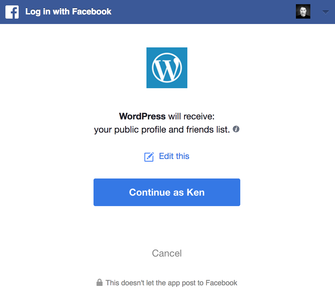 Publicize: Connect WordPress to your Facebook account.