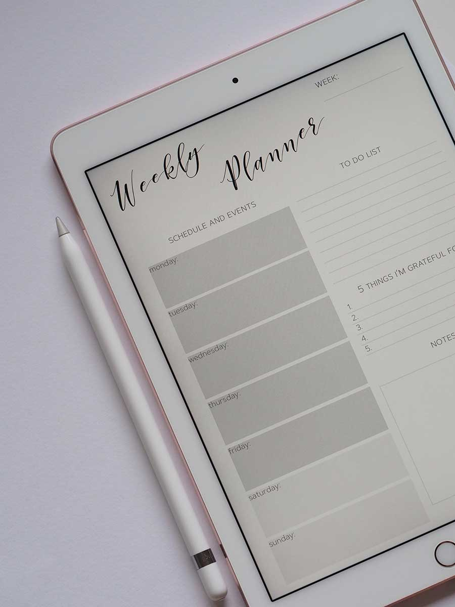 A weekly planner, helpful for arranging your show format.