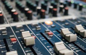 Radio station mixing desk.